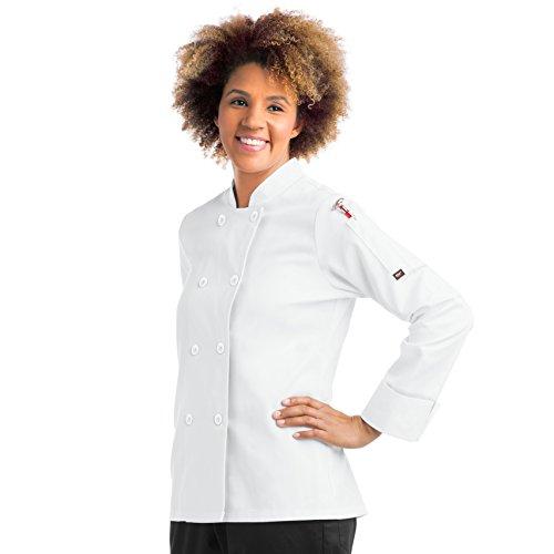 On The Line Women's Long Sleeve Chef Coat (XS-5X, 2 Colors) (XXX-Large, White) - Ladies Executive Chef Coat