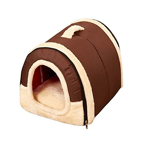 Fashion Plush Pet Beds (Geekercity Portable Pet Cat Dog House, Fashion Soft Sided Plush Pillowed Indoor Convertible Cat Cave Condo)