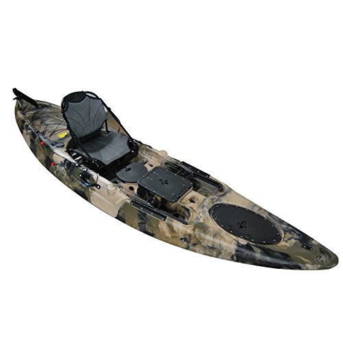 BKC UH-RA220 11.5 foot Angler Sit On Top Fishing Kayak with Paddles and Upright Chair and Rudder System Included