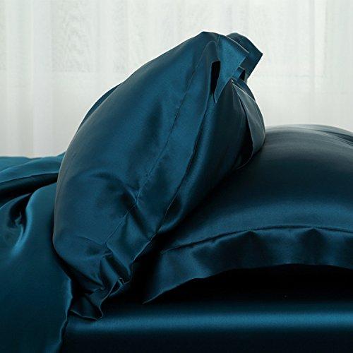 Orose 4Pcs Charmeuse Mulberry Silk Bed Sheet Set,Seamless, Deep Pocket...