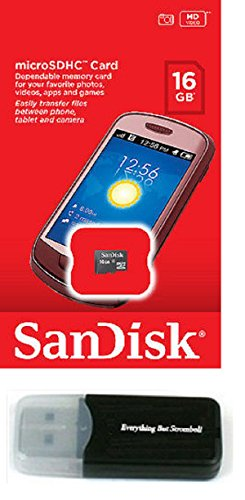 SanDisk 16GB MicroSD Memory Card works with LG Lucid 3 L80 VOLT L35 G3 G PAD 7.0 8.0 10.1 Vista G3 S Cat 6 Stylus L20 L30 L50 Freedom II L Bello Fino with Everything But Stromboli Memory Card Reader (64 Memory Sd G3 Lg Gb For Card)