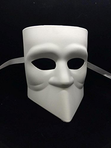 [Unpainted Blank Mask, Bauta Mask, Mens Masquerade Mask for Costume Party DIY Mask] (Diy Costume)