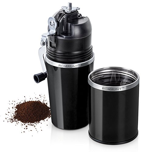 (Travel Coffee Grinder Set ROMAUNT All In One Portable Manual Grind Brew Coffee Maker Single Serve 2X Stainless Steel Mug Ceramic Burr Brewer Gift (Black))