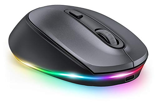 LED Bluetooth Mouse, seenda 3-Mode Silent Rechargeable Wireless Bluetooth Mouse( BT5.0/BT3.0/2.4G) for Multi Device, Compatible with iPad, Laptop, PC, Mac OS, Windows, Android, Space Gray