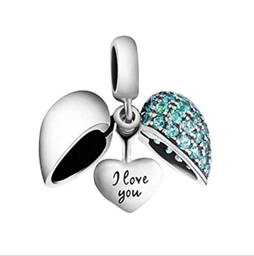 (I Love You Charm 925 Sterling Silver Charm Love Heart Crystal Bead for Pandora Charms Bracelet, Women Bracelet Charm Dangle Charm Birthday Christmas Charm Bead (Blue Charms))