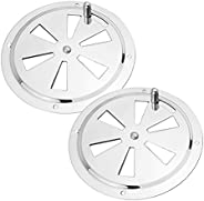 Pebbly Beach 2 Pieces Stainless Steel Round Louvered Vent Marine Boat Vent 4 Inch for Marine Boat Yacht Access