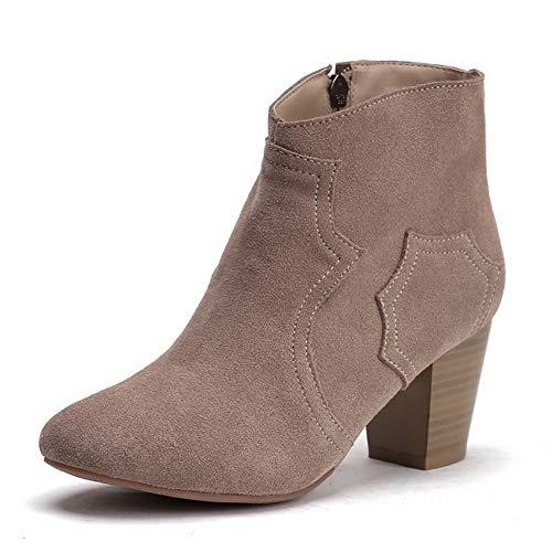 Zapatos Mujer Moda Hoesczs De Occidental 34 Botas 41 A Bude Gran Tamaño Vaca Estrenar Leather Botines Suede SqSwPA