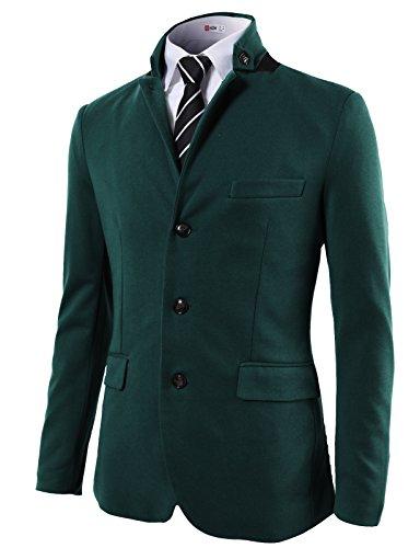 H2H Mens Casual Slim Fit Mandarin Collar Single Breasted Jacket GREEN US S/Asia M (KMOJA0292)