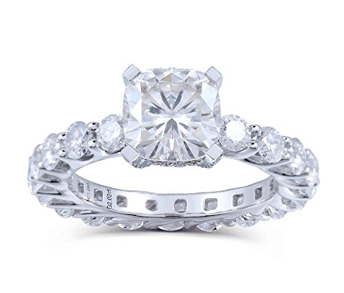 TransGems 4ctw FG Color Cushion Cut Lab Moissanite Diamond Wedding Engagement Ring 14K White Gold Moissanite Cushion Wedding Set Ring