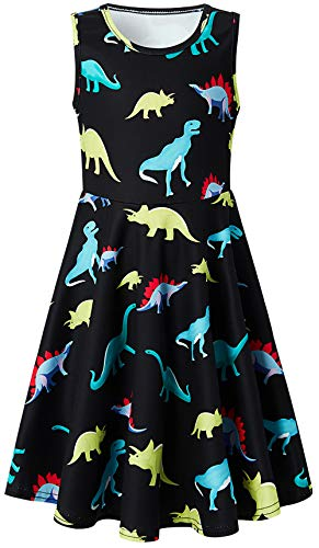Leapparel Kid's Round Neck Dresses Cute Dinosaur Sundress A-line Clothes Wedding Picnic Dresses One Piece Outfit for 6-7 Years Size M -