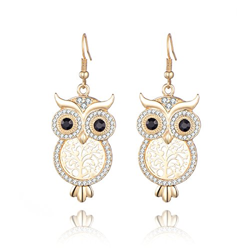 Cute Owl Drop Earrings with CZ Crystal for Women Girls - Clear Diamante Animal Dangle Earring, Anti-allergy Statement Costume Jewelry