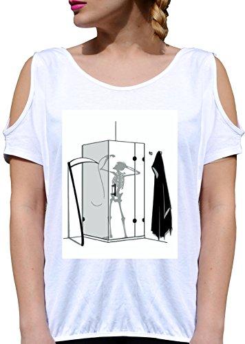 T SHIRT JODE GIRL GGG27 Z1776 DEATH SHOWER CARTOON FUNNY COMIC SKELETON FASHION COOL BIANCA - WHITE S
