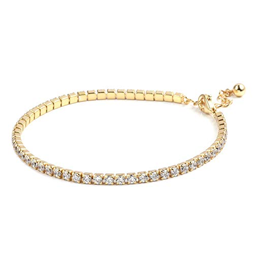 925 Sterling Silver 14K Yellow Gold Plated Eternity Cubic Zirconia Tennis Bracelet for Women CZ Gift Jewelry 8