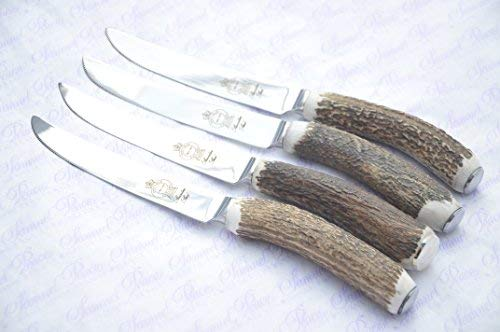 Four Extra Large Genuine Stag Horn/Antler Handle Steak Knife Made In Sheffield England Stamped Sheffield England