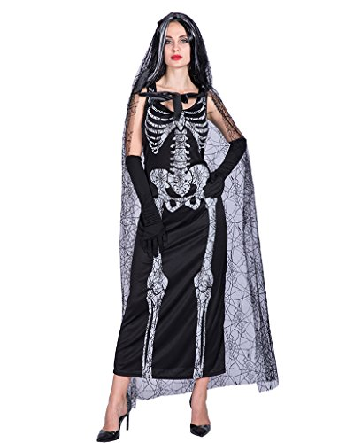 EraSpooky Women's Spider Web Skeleton Lady Halloween Costume(Black, OneSize) (Spider Lady Costume Halloween)