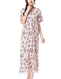 Womens Victorian Floral Nightgown Floor Length Sleepwear Nightdress,Short Sleeve