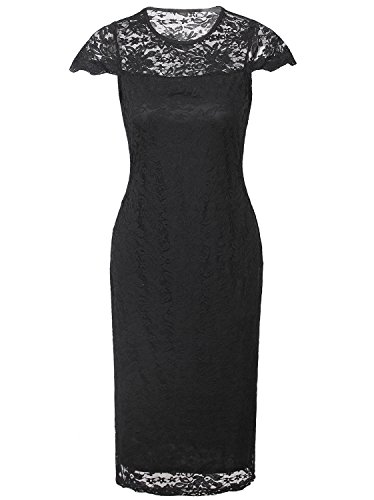 Vijiv Women Short Sleeves Black Lace Cocktail Sheath Dress Midi For Work Prom Party - X-Large - Black