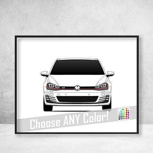 Volkswagen Golf GTI MK7 Poster Print Wall Art Decor Handmade
