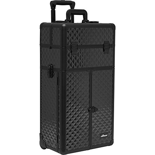 Sunrise-I3166-Pro-2-in-1-Rolling-Makeup-Cosmetic-Train-Case-Organizer-French-Doors-4-Trays-2-Drawers-Diamond-Black