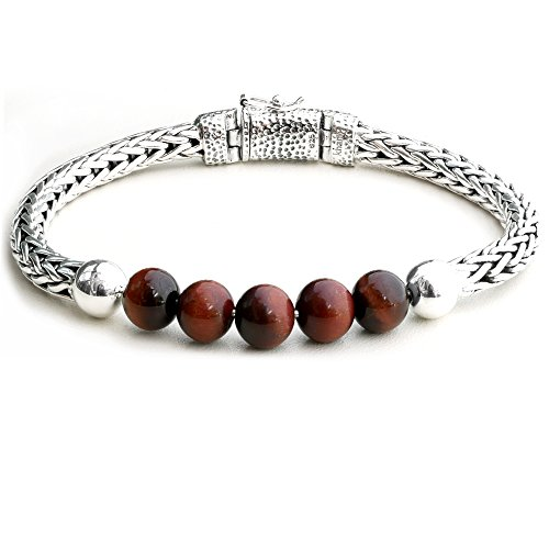 5.5MM Braided Woven Bali Link Chain 925 Sterling Silver with Tiger Eye Bead Bracelet for Men (925 Sterling Silver Tiger)