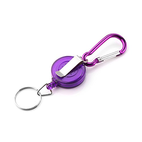 Rendodon(TM) Hot!!  Telescopic Keychain Retractable Key Chain Badge Reel - Recoil Carabiner ID Ski Pass Owner (Purple)