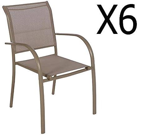 Amazon Sedie Da Giardino In Alluminio.Pegane Set Di 6 Sedie Da Giardino In Alluminio E Tessuto