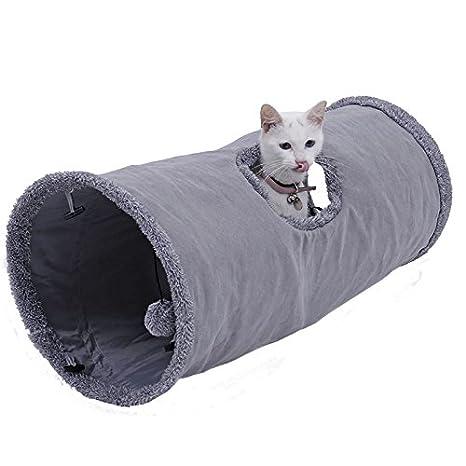 Ohana Túnel Plegable para Gato con Tubo de Papel con Agujero Deslizante Desmontable y Pelota Gris: Amazon.es: Productos para mascotas