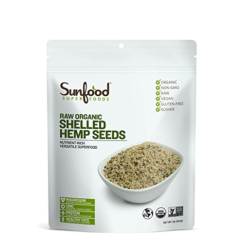 Sunfood Hemp Seeds, Shelled, 1lb, Organic, Raw by Sunfood