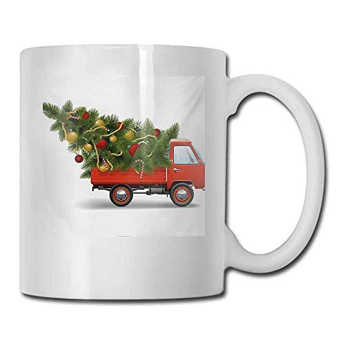 Porcelain Mugs for Coffee Christmas Red Retro Style Farm Truck and Big Christmas Tree with Tinsel Balls Candy Decorative Cup 11 oz White Red Green