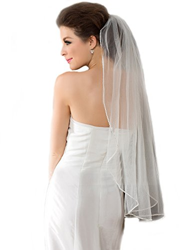 "Top-Sexy Pale Ivory 1 Tier 36"" Fingertip Length Bling Diamonds Lined Wedding Bridal Veil 07"