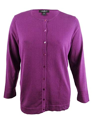 August Silk Women's Plus Size Silk-Blend Cardigan (2X, Majestic Purple)