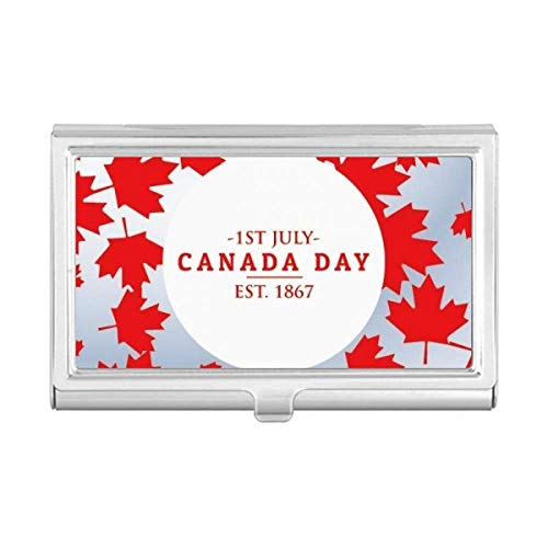 Canada Day 4th of July EST 1867 Maple Leaf Business Card Holder Case Wallet