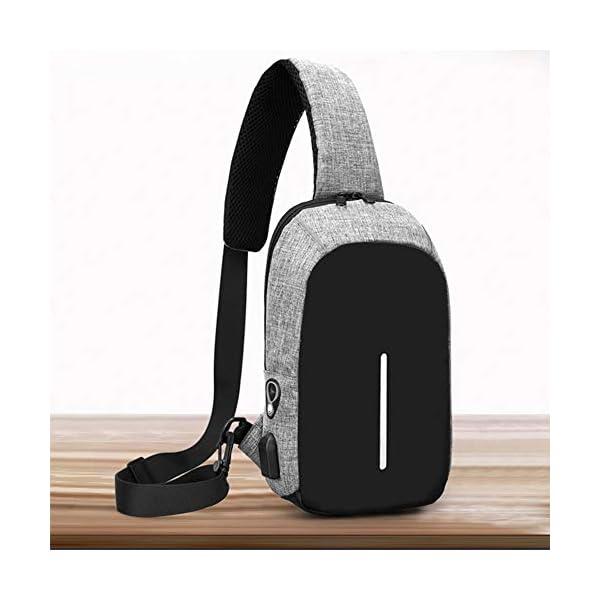 LOSMILE Sac de Poitrine Sac Bandoulière Homme avec Port de Chargement USB Sac Porté Épaule Sac à Dos pour Sacoche…