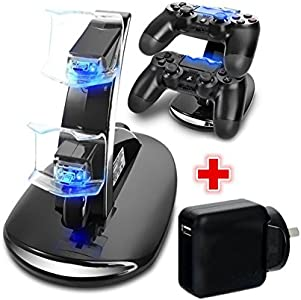 Playstation 4 PS4 Controller Charger Dock Station Dual USB Fast Charging Stand + AC Wall USB Charger Adapter