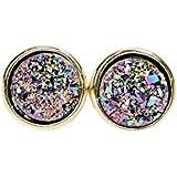 Purple Druzy Stud Circle Round Real Quartz Gemstone Earrings -8mm