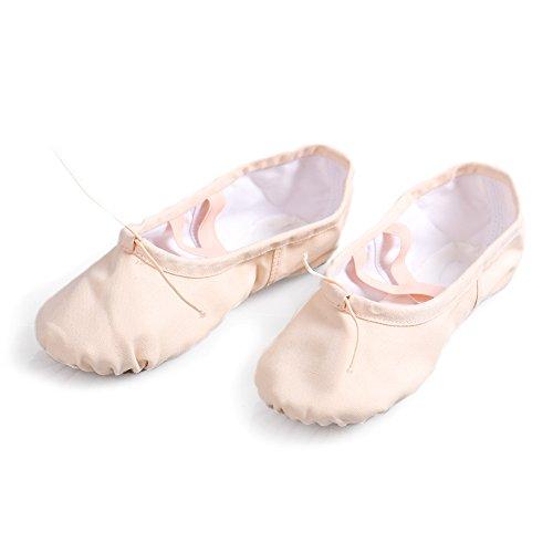 HROYL Zapatos de baile/zapatos de ballet de algodón mujeres ES-CCB el Rosa Claro