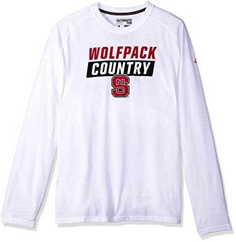 adidas NCAA North Carolina State Wolfpack Mens Block Statement Ultimate L/S Teeblock Statement Ultimate L/S Tee, White, Medium (Adidas Block Tshirt)