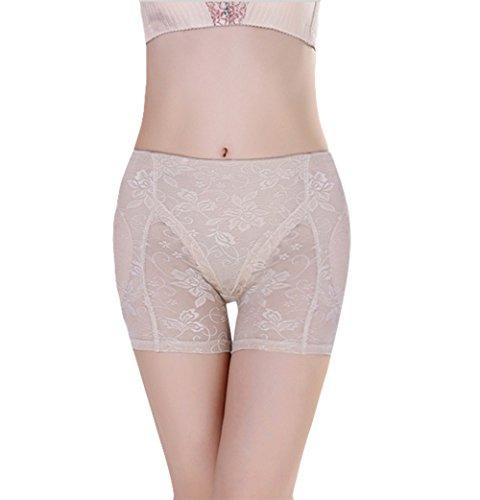 Shymay Women's Jacquard Padded Panty Comfort Revolution Seamless Brief Panty, Apricot, Small