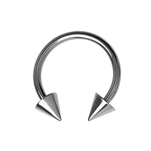 Amelia Fashion Spiked Circular Barbell / Horseshoe Nose Ring 316L Surgical Stainelss Steel (CHOOSE SIZE) (12GA - L.5/8