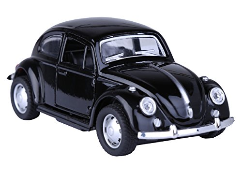 Berry President(TM Classic 1967 Volkswagen Vw Classic Beetle Bug Vintage 1/32 Scale Diecast Metal Pull Back Car Model Toy For Gift/Kids (BLACK)