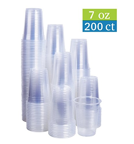 TashiBox 7 oz Clear Plastic Cups - Disposable Cold Drink Party Cups -