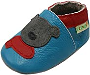 SAYOYO Baby Cute Bear Soft Sole Leather Baby Shoes Baby Moccasins