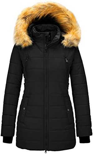 Wantdo Women's Warm Winter Coat Thicken Puffer Jacket Quilted Parka with Fur Trimmed Hood