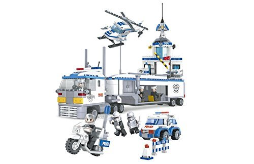 Ausini City Police Mobile Police Unit Headquarters 779pc Set Educational Building Blocks Set – Best Gift for Boys and Girls