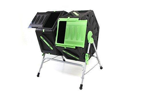 Dual Fach Kompost, rotierbar, einfache und schnelle Kompostierung, unterstützt durch drehen und mischen des Inhalts, mit Griffen und Belüftungssystem, langlebig, kann das ganze Jahr draußen verwendet werden