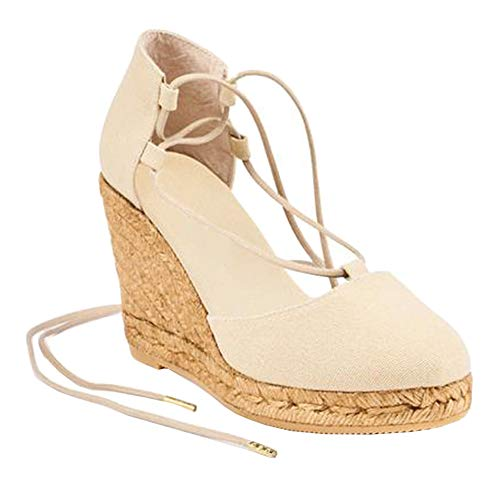 Womens Closed Toe Lace Up Espadrille Platform Wedges Sandals Shoes Canvas Ankle Tie Strap Dress ()