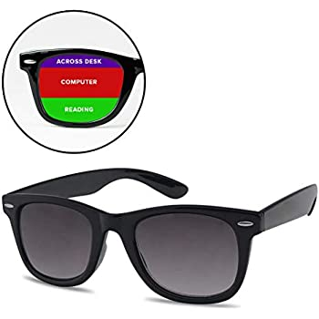 57053c84685 SunglassUP Multi Focus 3 in 1 Tri-Focal Reading Sunglasses Classic Square  Frame Progressive Readers (Black Frame