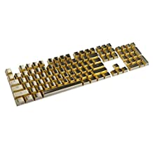 Feicuan 104 Keys Cap Cover PBT Electroplating Metal Backlit Replacement Keycap Universal for Mechanical Keyboard -Gold