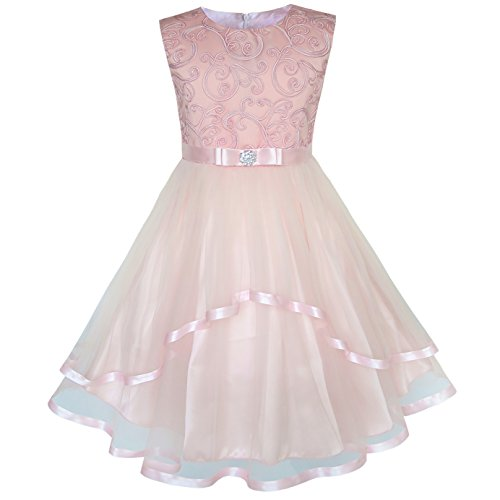 KP23 Flower Girls Dress Blush Belted Wedding Party Bridesmaid Size 6 Pink