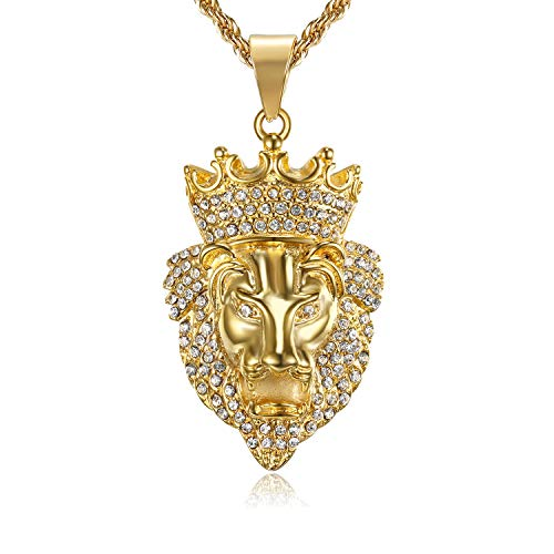 - Lee Island Fashion 24K Gold Plated Simulated Diamond CZ Fully Lion King with Crown Pendant Stainless Steel Necklace, 24 Inch Chain for Men Hip Hop Jewelry